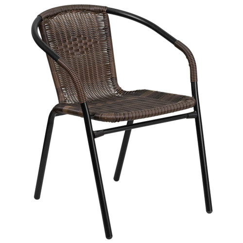 Flash Furniture | Dark Brown Rattan Indoor-Outdoor Restaurant Stack Chair