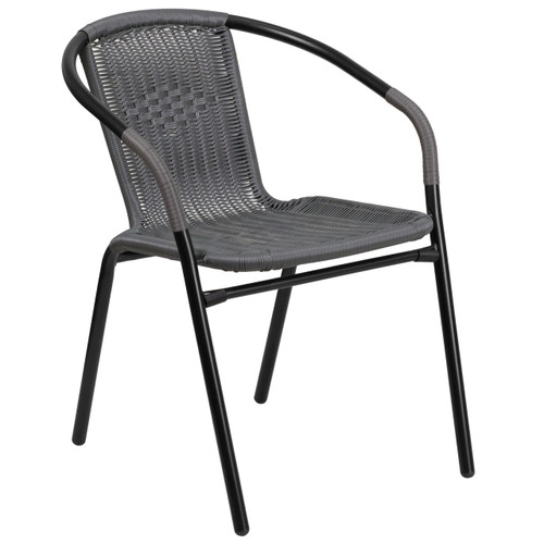 Flash Furniture | Gray Rattan Indoor-Outdoor Restaurant Stack Chair