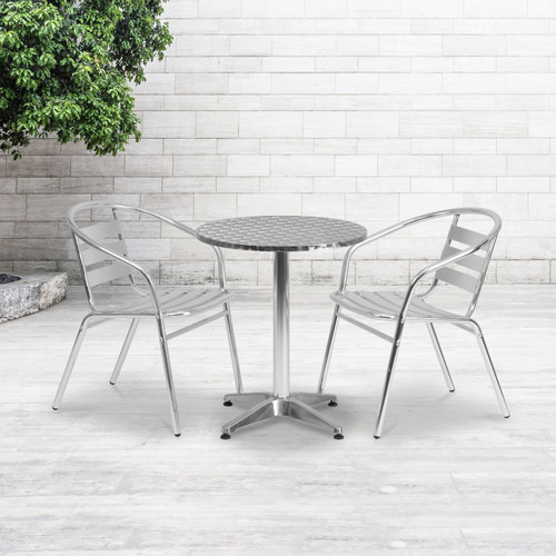 Flash Furniture | 23.5'' Round Aluminum Indoor-Outdoor Table with Base