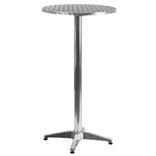 Flash Furniture | 23.25'' Round Aluminum Indoor-Outdoor Folding Bar Height Table with Base