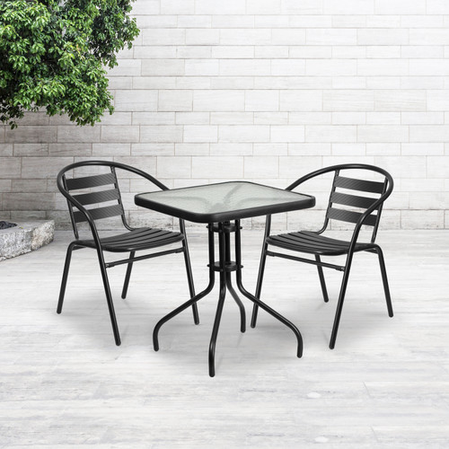 Flash Furniture | 23.5'' Square Tempered Glass Metal Table