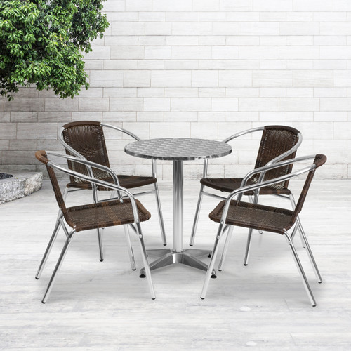 Flash Furniture | 23.5'' Round Aluminum Indoor-Outdoor Table Set with 4 Dark Brown Rattan Chairs