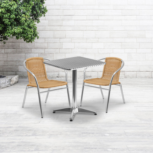 Flash Furniture | 23.5'' Square Aluminum Indoor-Outdoor Table Set with 2 Beige Rattan Chairs