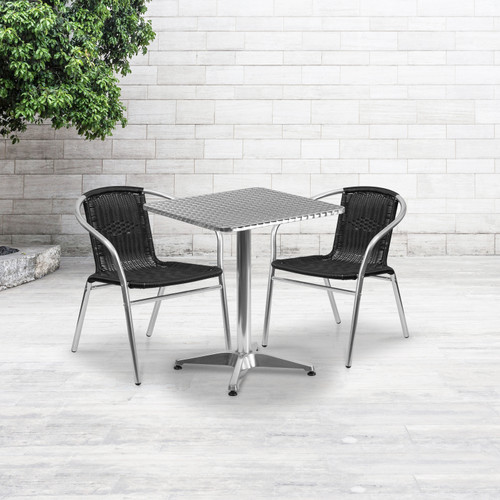 Flash Furniture | 23.5'' Square Aluminum Indoor-Outdoor Table Set with 2 Black Rattan Chairs