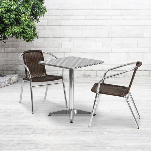 Flash Furniture | 23.5'' Square Aluminum Indoor-Outdoor Table Set with 2 Dark Brown Rattan Chairs
