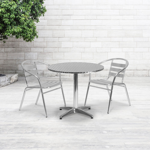 Flash Furniture | 31.5'' Round Aluminum Indoor-Outdoor Table Set with 2 Slat Back Chairs