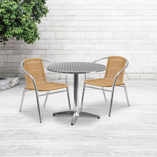 Flash Furniture | 31.5'' Round Aluminum Indoor-Outdoor Table Set with 2 Beige Rattan Chairs