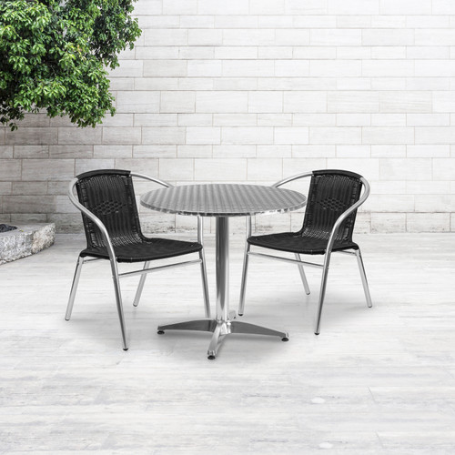 Flash Furniture | 31.5'' Round Aluminum Indoor-Outdoor Table Set with 2 Black Rattan Chairs