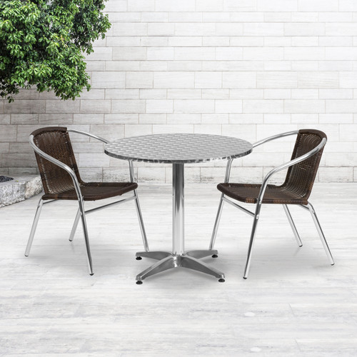 Flash Furniture | 31.5'' Round Aluminum Indoor-Outdoor Table Set with 2 Dark Brown Rattan Chairs