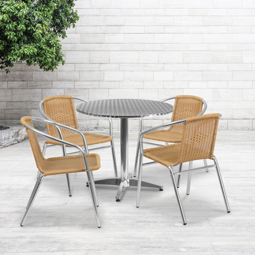 Flash Furniture | 31.5'' Round Aluminum Indoor-Outdoor Table Set with 4 Beige Rattan Chairs