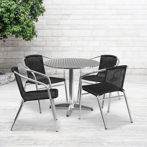 Flash Furniture | 31.5'' Round Aluminum Indoor-Outdoor Table Set with 4 Black Rattan Chairs