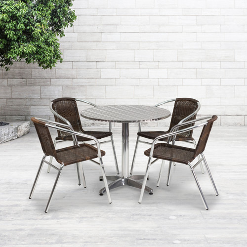 Flash Furniture | 31.5'' Round Aluminum Indoor-Outdoor Table Set with 4 Dark Brown Rattan Chairs