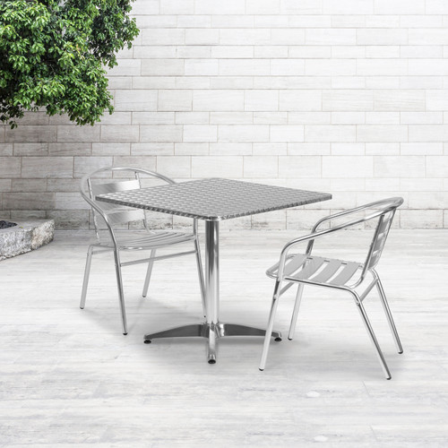 Flash Furniture | 31.5'' Square Aluminum Indoor-Outdoor Table Set with 2 Slat Back Chairs