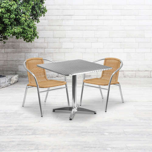 Flash Furniture | 31.5'' Square Aluminum Indoor-Outdoor Table Set with 2 Beige Rattan Chairs