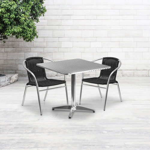 Flash Furniture | 31.5'' Square Aluminum Indoor-Outdoor Table Set with 2 Black Rattan Chairs