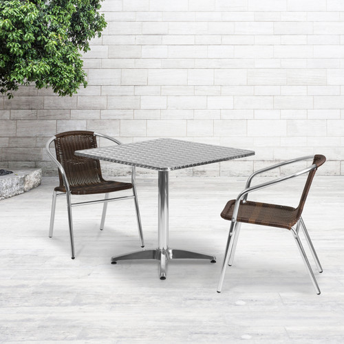 Flash Furniture | 31.5'' Square Aluminum Indoor-Outdoor Table Set with 2 Dark Brown Rattan Chairs