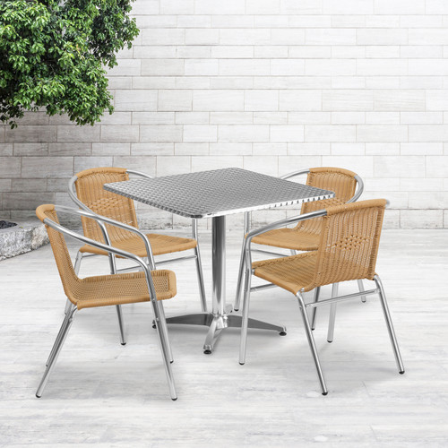 Flash Furniture | 31.5'' Square Aluminum Indoor-Outdoor Table Set with 4 Beige Rattan Chairs
