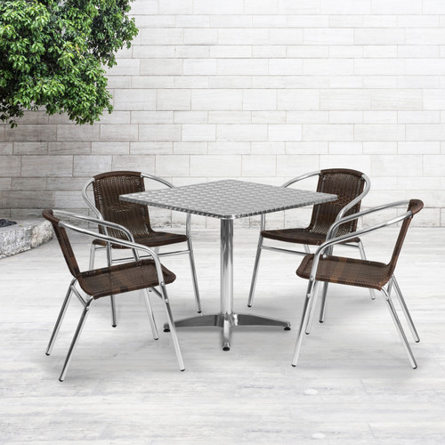 Flash Furniture | 31.5'' Square Aluminum Indoor-Outdoor Table Set with 4 Dark Brown Rattan Chairs