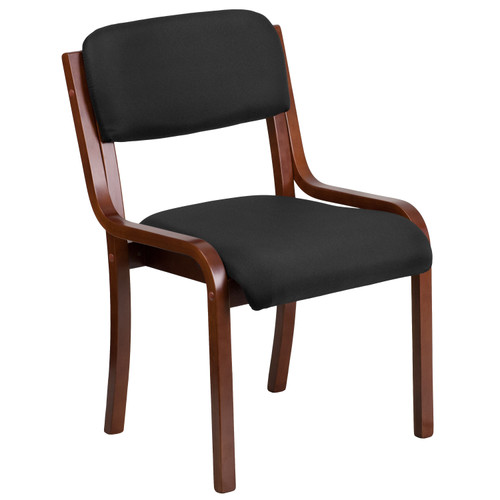 Flash Furniture | Contemporary Walnut Wood Side Reception Chair with Black Fabric Seat