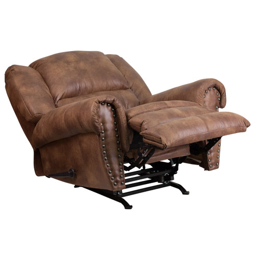 Flash Furniture | Contemporary Breathable Comfort Padre Almond Fabric Rocker Recliner with Brass Accent Nail Trim