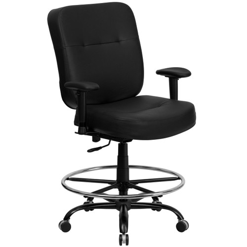 Flash Furniture | HERCULES Series Big & Tall 400 lb. Rated Black Leather Ergonomic Drafting Chair with Adjustable Arms