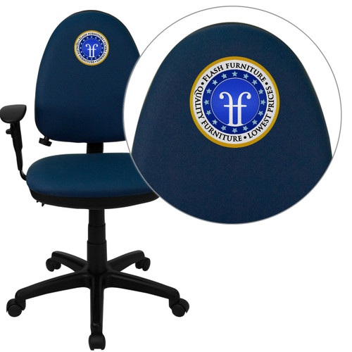 Flash Furniture | Embroidered Mid-Back Navy Blue Fabric Multifunction Ergonomic Task Office Chair with Adjustable Lumbar & Arms