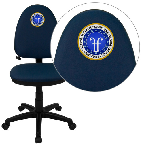 Flash Furniture | Embroidered Mid-Back Navy Blue Fabric Multifunction Swivel Ergonomic Task Office Chair with Adjustable Lumbar