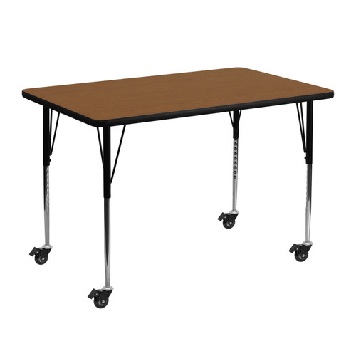 Standard Height Adjustable Legs 29.5 W x 57.25 D x 22.37-30.5 H Mobile 29.5 W x 57.25 L Trapezoid Oak HP Laminate Activity Table