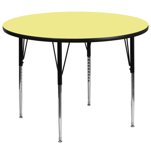 Flash Furniture | 60'' Round Yellow Thermal Laminate Activity Table - Standard Height Adjustable Legs
