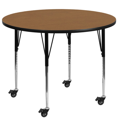 Flash Furniture | Mobile 60'' Round Oak Thermal Laminate Activity Table - Standard Height Adjustable Legs