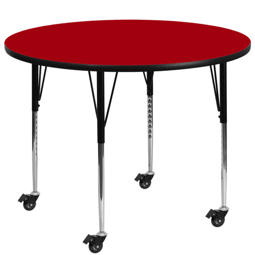 Flash Furniture | Mobile 60'' Round Red Thermal Laminate Activity Table - Standard Height Adjustable Legs