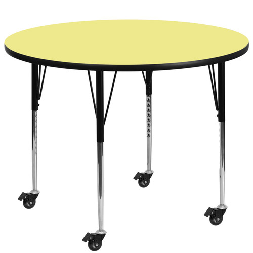 Flash Furniture | Mobile 60'' Round Yellow Thermal Laminate Activity Table - Standard Height Adjustable Legs