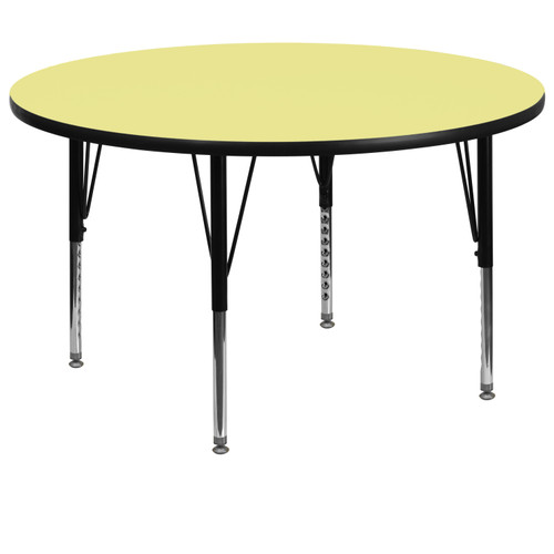 Flash Furniture | 60'' Round Yellow Thermal Laminate Activity Table - Height Adjustable Short Legs