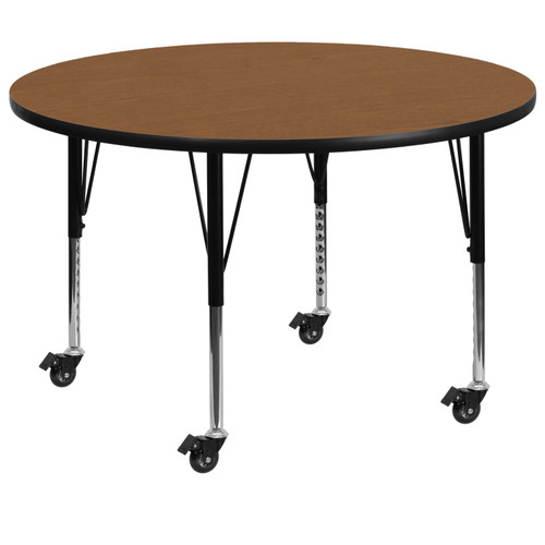 Flash Furniture | Mobile 60'' Round Oak Thermal Laminate Activity Table - Height Adjustable Short Legs