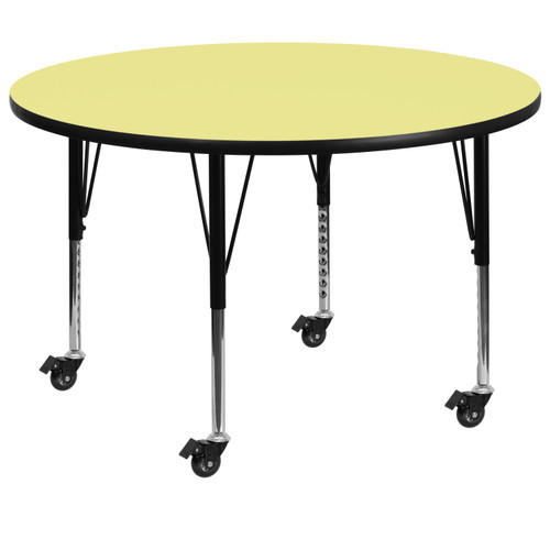 Flash Furniture | Mobile 60'' Round Yellow Thermal Laminate Activity Table - Height Adjustable Short Legs