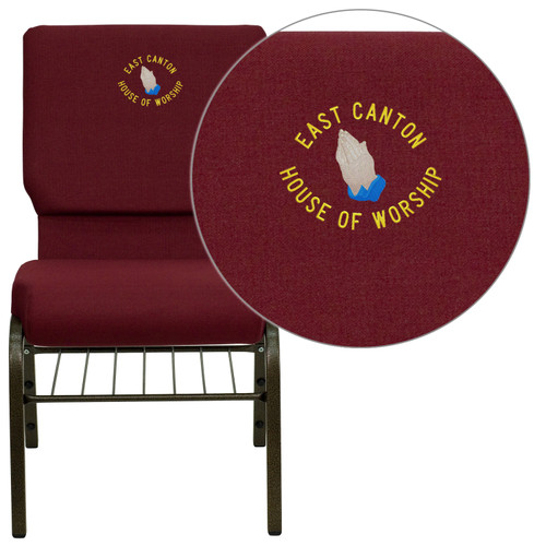Flash Furniture | Embroidered HERCULES Series 18.5''W Church Chair in Burgundy Fabric with Book Rack - Gold Vein Frame