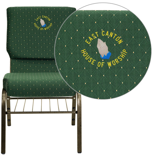 Flash Furniture | Embroidered HERCULES Series 18.5''W Church Chair in Green Patterned Fabric with Book Rack - Gold Vein Frame