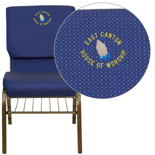 Flash Furniture | Embroidered HERCULES Series 18.5''W Church Chair in Navy Blue Patterned Fabric with Book Rack - Gold Vein Frame