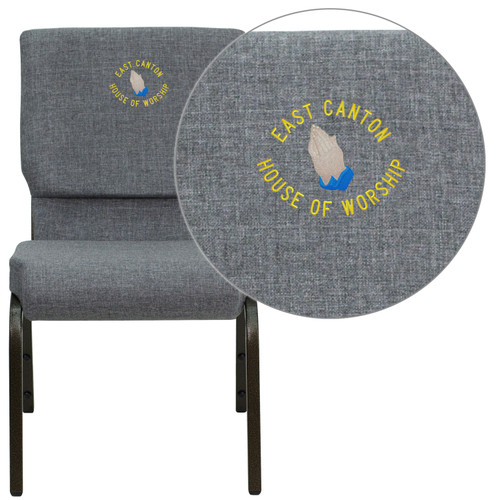 Flash Furniture | Embroidered HERCULES Series 18.5''W Stacking Church Chair in Gray Fabric - Gold Vein Frame