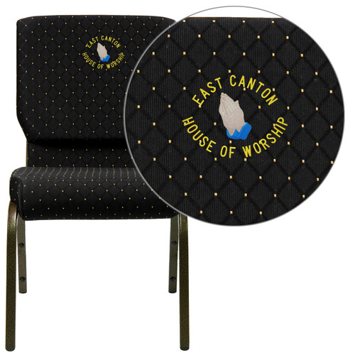 Flash Furniture | Embroidered HERCULES Series 18.5''W Stacking Church Chair in Black Dot Patterned Fabric - Gold Vein Frame