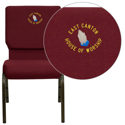 Flash Furniture | Embroidered HERCULES Series 18.5''W Stacking Church Chair in Burgundy Fabric - Gold Vein Frame