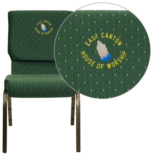 Flash Furniture | Embroidered HERCULES Series 18.5''W Stacking Church Chair in Green Patterned Fabric - Gold Vein Frame