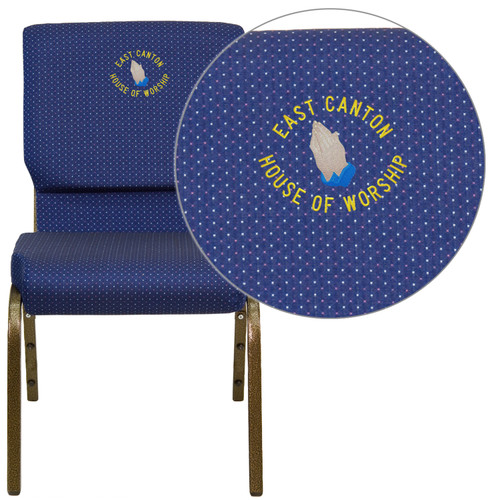 Flash Furniture | Embroidered HERCULES Series 18.5''W Stacking Church Chair in Navy Blue Patterned Fabric - Gold Vein Frame