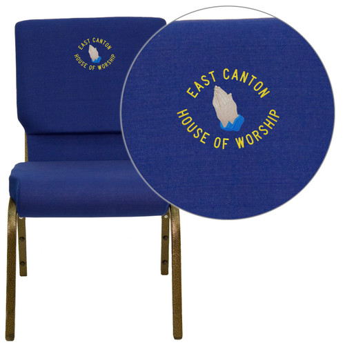 Flash Furniture | Embroidered HERCULES Series 18.5''W Stacking Church Chair in Navy Blue Fabric - Gold Vein Frame