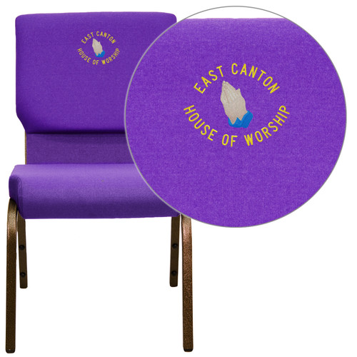 Flash Furniture | Embroidered HERCULES Series 18.5''W Stacking Church Chair in Purple Fabric - Gold Vein Frame