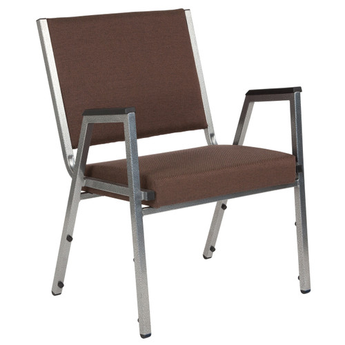 Flash Furniture | HERCULES Series 1500 lb. Rated Brown Antimicrobial Fabric Bariatric Arm Chair with Silver Vein Frame