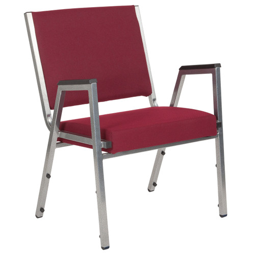 Flash Furniture | HERCULES Series 1500 lb. Rated Burgundy Antimicrobial Fabric Bariatric Arm Chair with Silver Vein Frame