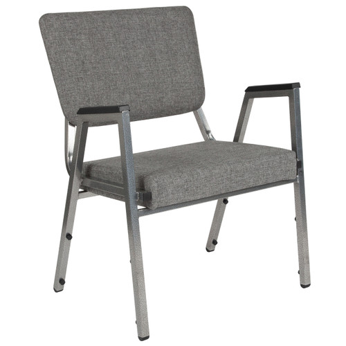 Flash Furniture | HERCULES Series 1500 lb. Rated Gray Antimicrobial Fabric Bariatric Arm Chair with 3/4 Panel Back and Silver Vein Frame
