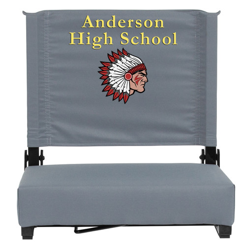 Flash Furniture | Embroidered Grandstand Comfort Seats by Flash with Ultra-Padded Seat in Gray