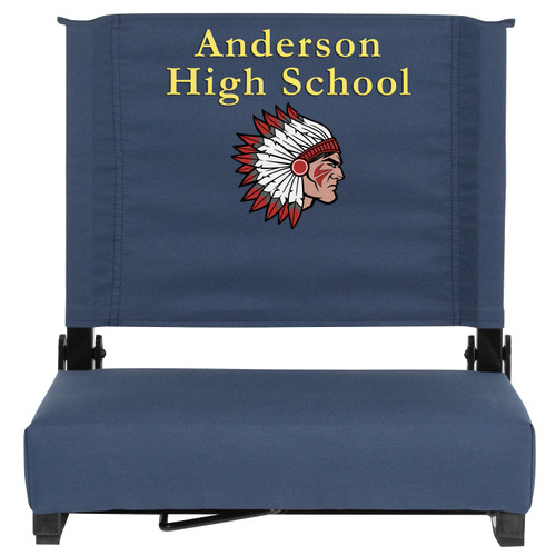 Flash Furniture | Embroidered Grandstand Comfort Seats by Flash with Ultra-Padded Seat in Navy Blue